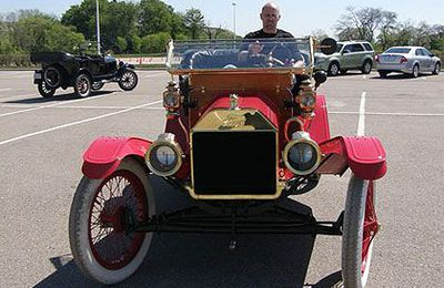 David Booth drives a 1911 Model T Ford, which got approximately the same fuel economy then as cars of today.