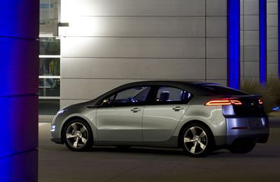 The 2010 Chevrolet Volt, which GM says can achieve 230 mpg.
