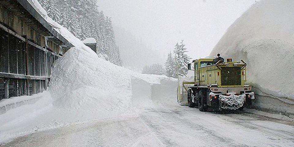 Clearing an avalanche on Interstate 90 at Snoqualmie Pass in Washington's Cascade Mountains, January 2008.
