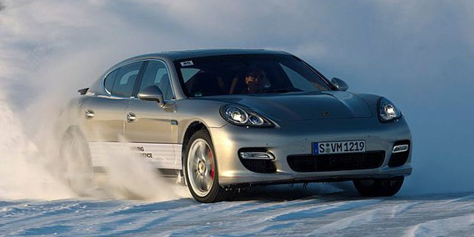 A Porsche Panamera at Ice Force Camp, Ivalo, Finland.
