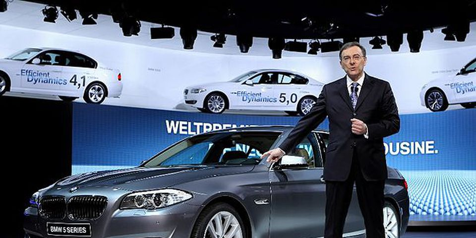 BMW Chairman and CEO Norbert Reithofer presents the BMW 5 Series during the first press day at the 80th Geneva International Motor Show on March 2, 2010 in Geneva, Switzerland.