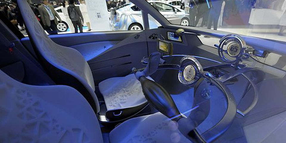 Interior of the concept car all electric by Toyota displayed on March 2, 2010 during the second press day at the 80th Geneva International Motor Show at Palexpo in Geneva.