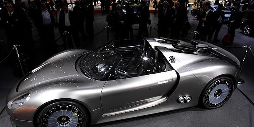 The Porsche 918 Spyder concept car is pictured during the second press day at the 80th Geneva International Motor Show on March 3, 2010 in Geneva, Switzerland. The show features World and European premieres of cars, and will be open to the public from March 4th to the 14th.