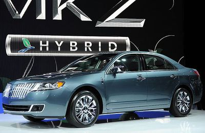 The Lincoln MKZ Hybrid on display at the New York International Auto Show March 31, 2010 in New York.