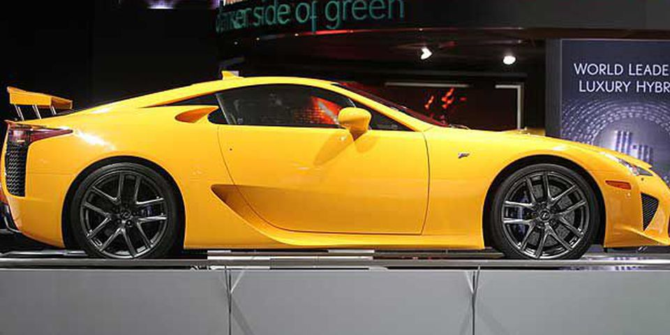 A Lexus LFA is displayed during the press preview of the North American International Auto Show at the Cobo Center on January 11, 2011 in Detroit, Michigan.