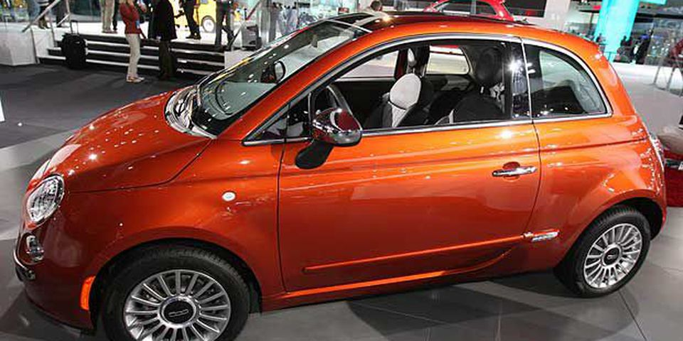 A 2011 Fiat 500 is displayed during the press preview of the North American International Auto Show at the Cobo Center on January 11, 2011 in Detroit, Michigan.