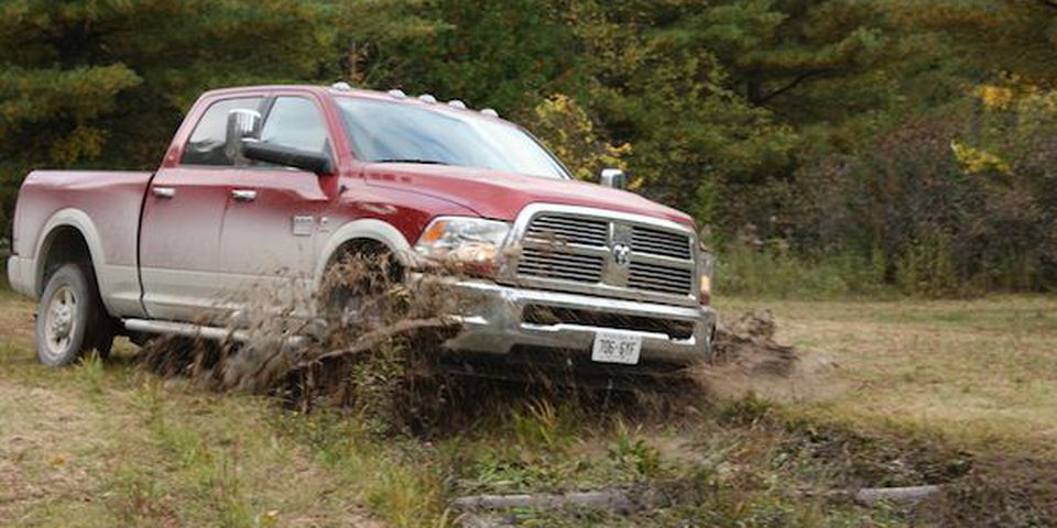 The Dodge Ram goes through the course.