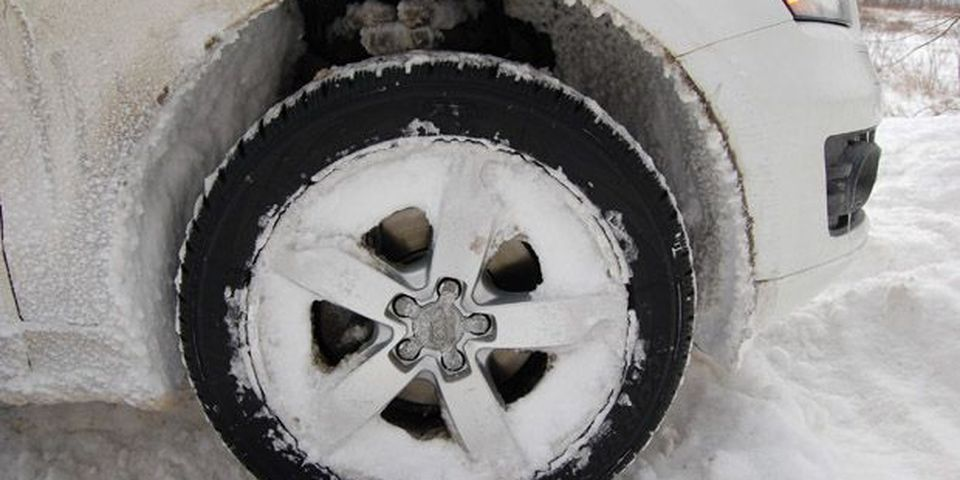 Snow that built up into the wheels was cleared out by hand to avoid throwing wheels off balance.