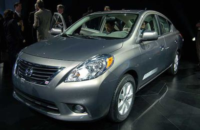 The 2012 Nissan Versa sedan on display at the 2011 New York International Auto Show on the first press day, April 20, 2011.