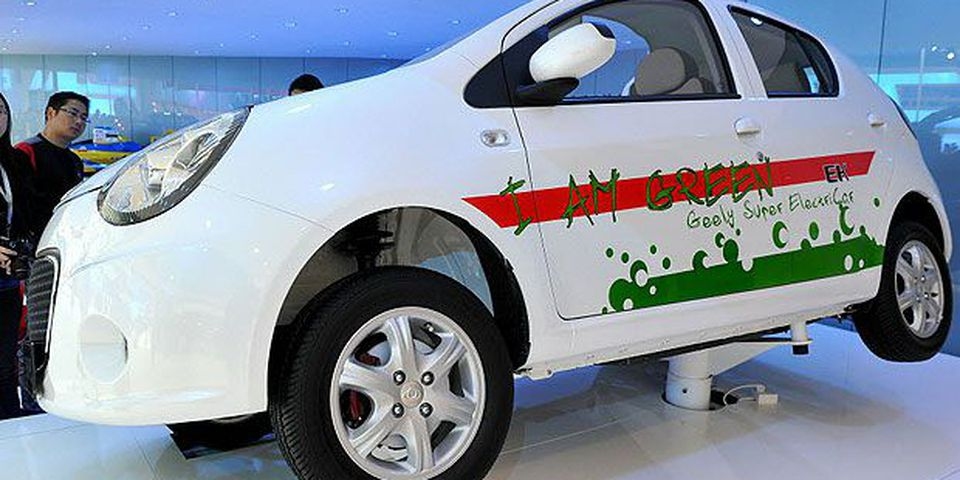 An electric car prototype of Chinese car manufacturer Geely is displayed at the Shanghai Auto Show in Shanghai on April 21, 2011.