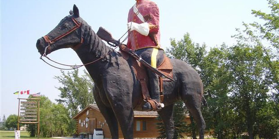 This statue of a Mountie is the first evidence in Redvers, Saskatchewan that you're on the Red Coat Trail.