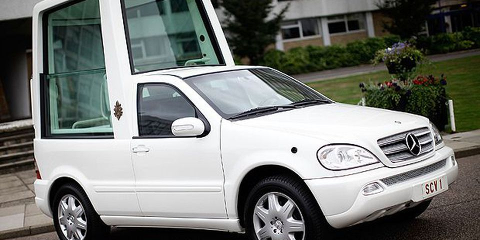 The Popemobile is displayed to members of the press at Hendon Police College on September 14, 2010 in London, England.