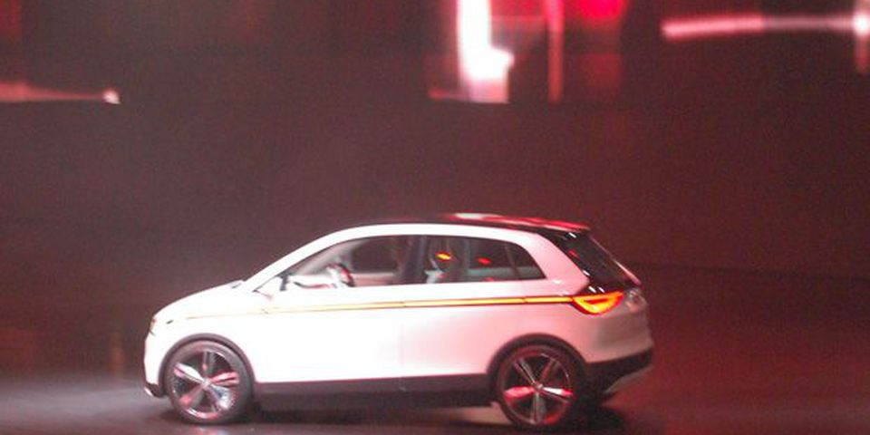 The Audi A2 Concept car before its offical reveal at the Frankfurt Motor show.