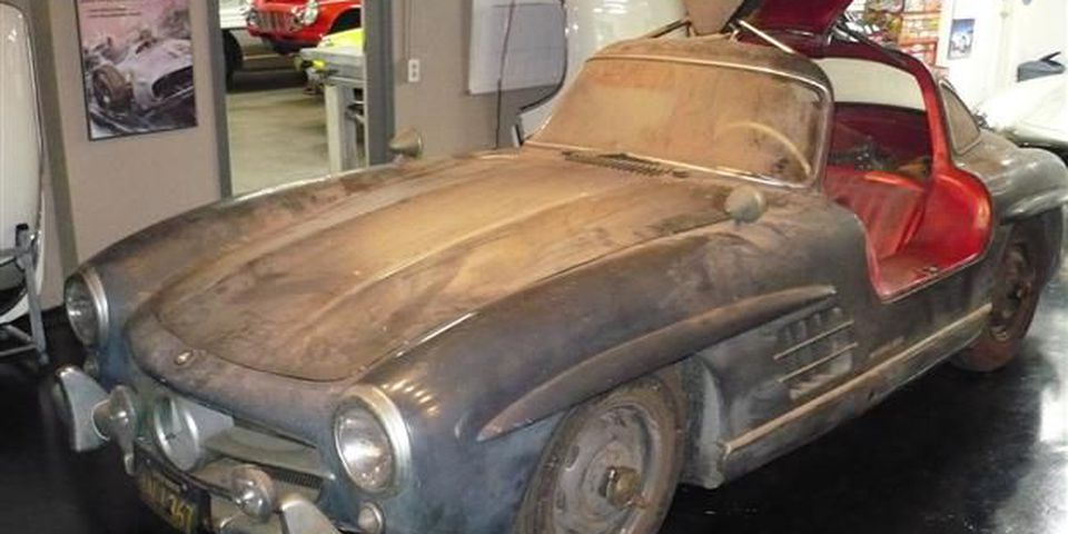The 1955 Mercedes Benz alloy bodied gullwing coupe found in California.