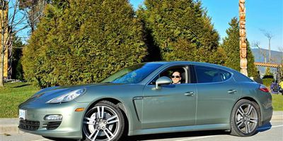 TV/Radio host Michael Eckford with the 2012 Porsche Panamera S Hybrid in Vancouver, B.C.