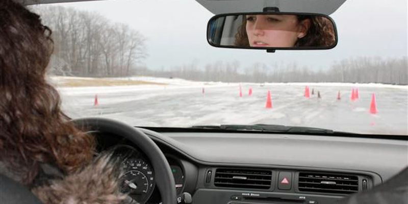 A student at the Bridgestone Canadian Winter Driving School.
