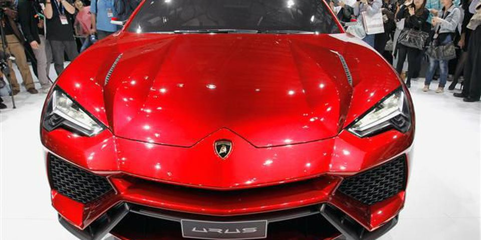 The Lamborghini Urus sport-utility concept vehicle is unveiled during the media day of the 2012 Beijing International Automotive Exhibition.