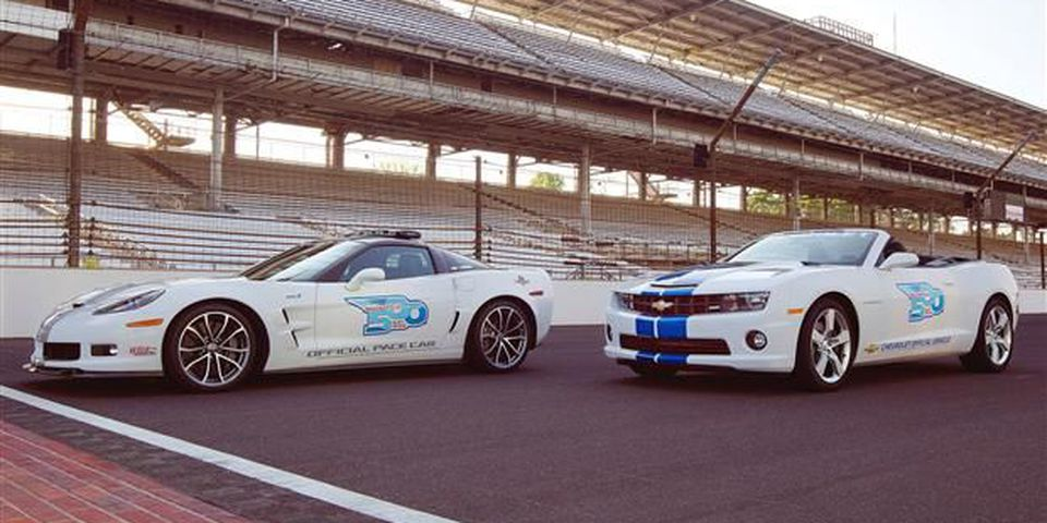 The Corvette and Camaro played big roles in the 2012 Indy 500, the former as the pace car and the latter as a VIP car.
