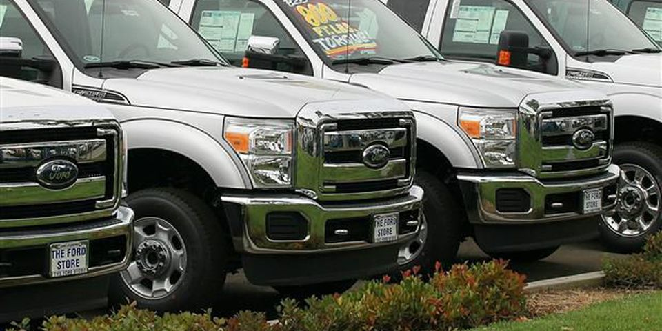 New Ford Super Duty trucks for sale in this file photo.