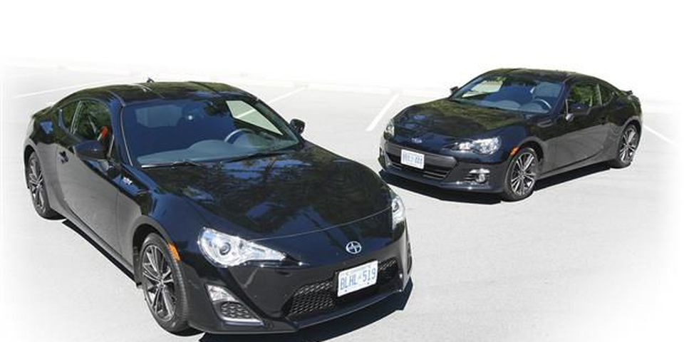The Scion FR-S (left) and Subaru BRZ both feature Subaru's 2.0-litre boxer engine that produces 200 horsepower and 151 pound-feet of torque.