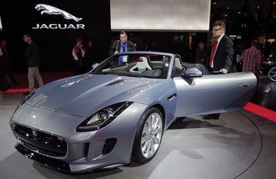 The new Jaguar F-Type on display during the press day at the Paris Auto Show.