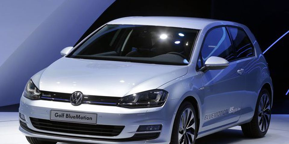 The Volkswagen Golf Bluemotion is shown during media day at the Paris Auto Show.