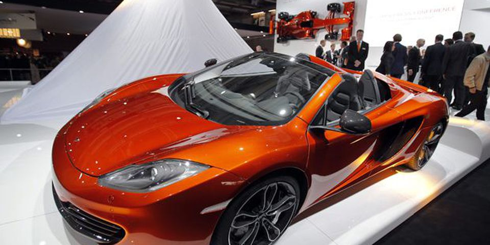 The new McLaren 12C Spider on display during the press day at the Paris Auto Show, France.