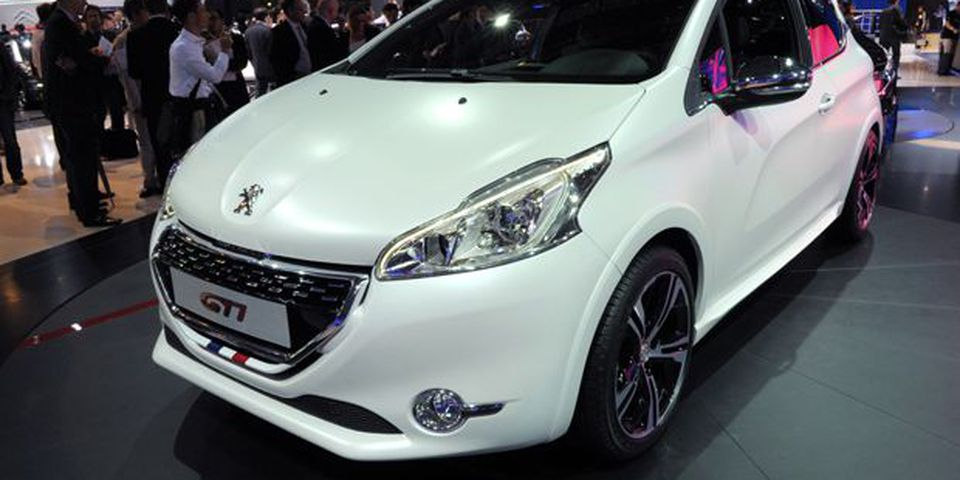 A Peugeot 208 GTI is presented during the press days ahead of the opening of the Paris Motor Show.