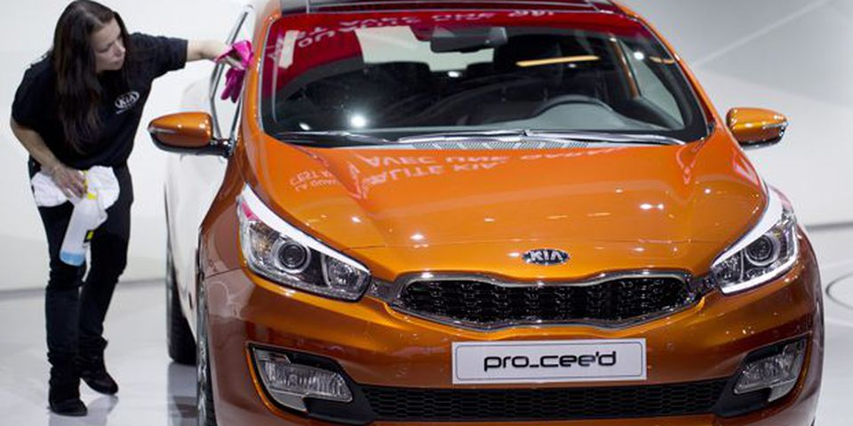 A Kia Pro_'ceed  is presented during the press days ahead of the opening of the Paris Motor Show.