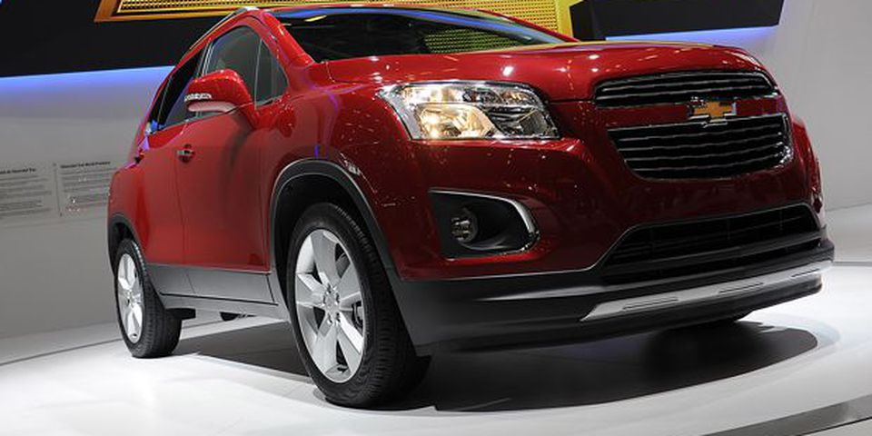 A Chevrolet Trax car sits on display at the Paris Motor Show.