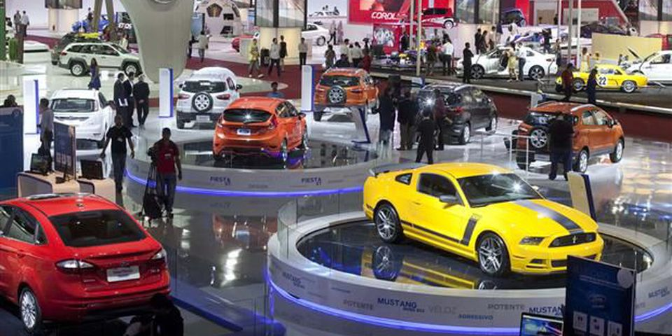 Automobiles sit on exhibit at the Sao Paulo International Motor Show in Sao Paulo, Brazil.