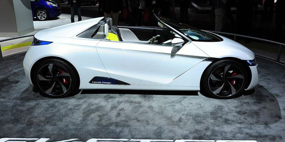 The Honda EV-STER Small Sports Car concept is on display at the Los Angeles Auto Show in Los Angeles.