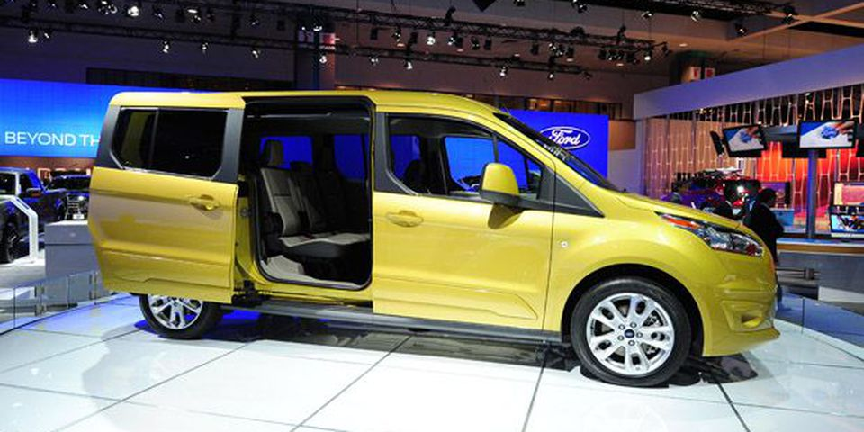 The new seven-passenger Ford Transit Connect Wagon is on display at the 2012 Los Angeles Auto Show.