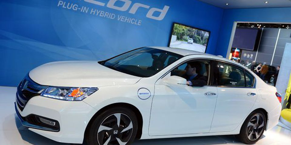 The Honda Accord plug-in hybrid on display at the 2013 North American International Auto Show in Detroit.