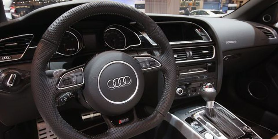 The interior of the Audi RS5 is sen during the media preview at the Chicago Auto Show.