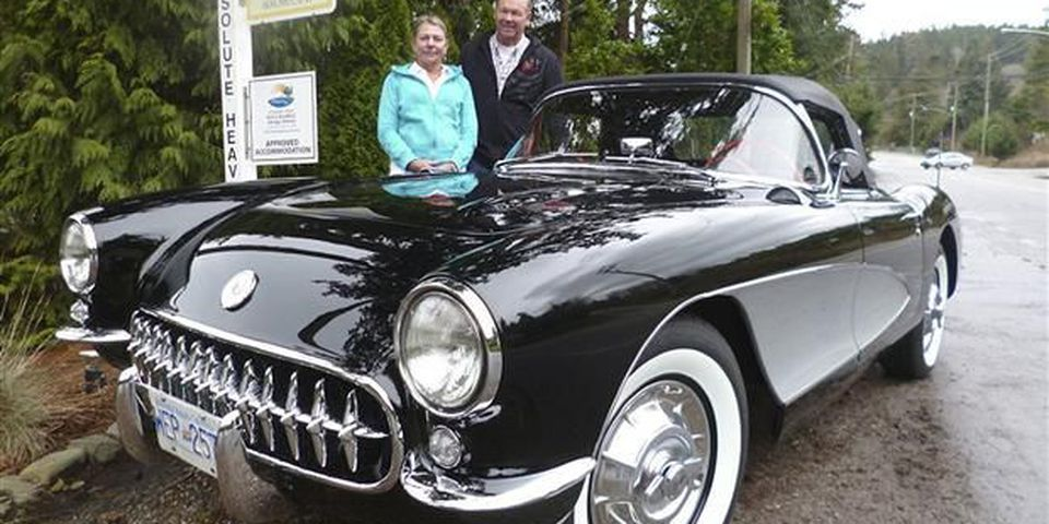 Doug and Doreen Penn with the 1957 Corvette they rode in on their first date.