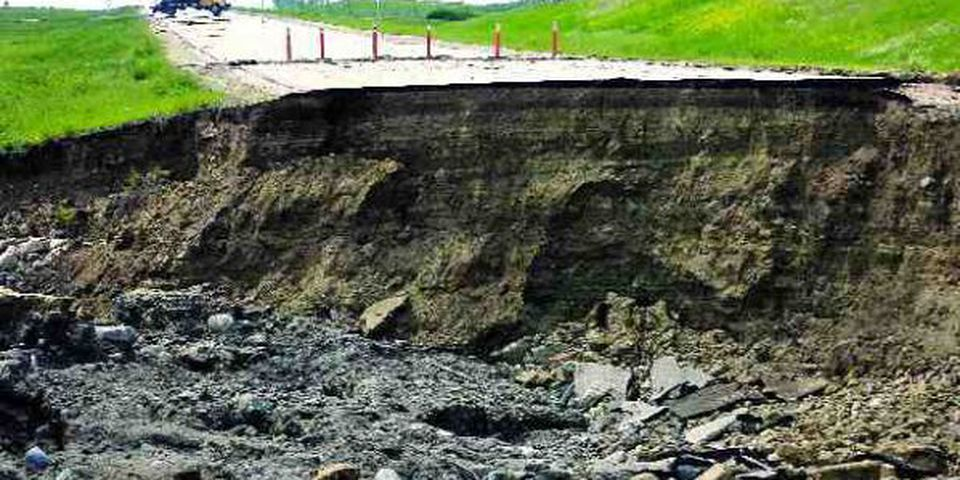 Washed out -- the westbound lanes of the Trans-Canada Highway near Maple Creek.