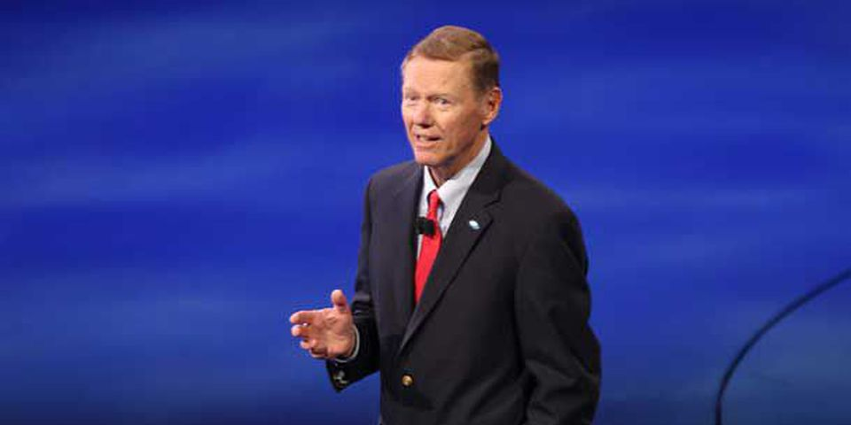Ford President/CEO Alan Mulally talks during a Fusion press conference Monday, Jan. 9, 2012, at the Detroit International Auto Show in Detroit.