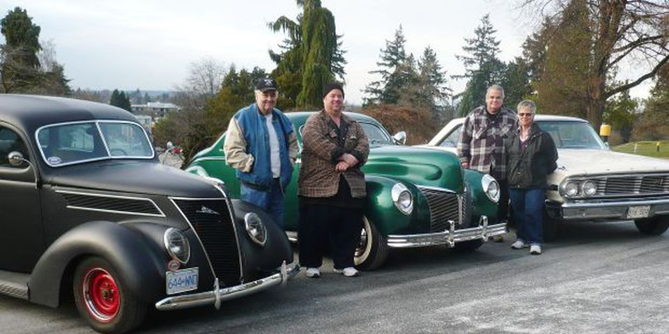 The Larsons are into Ford hot rods. Their fleet; 1937 'flatback' sedan, a custom 1940 Mercury coupe and a 1964 Galaxie 500.