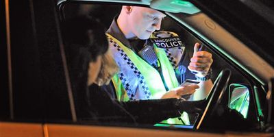 A Vancouver Police officer conducts a roadside check for impaired drivers in this file photo.