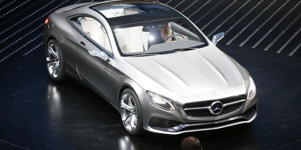 The Mercedes S-Class Coupe concept is on display during the first press day of the 65th Frankfurt Auto Show in Frankfurt, Germany.