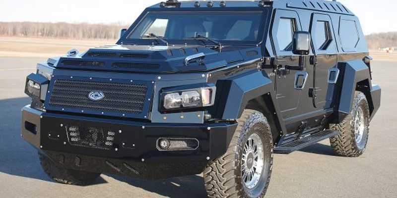 The Evade has a rugged military look on the outside with limousine-type seating on the inside.