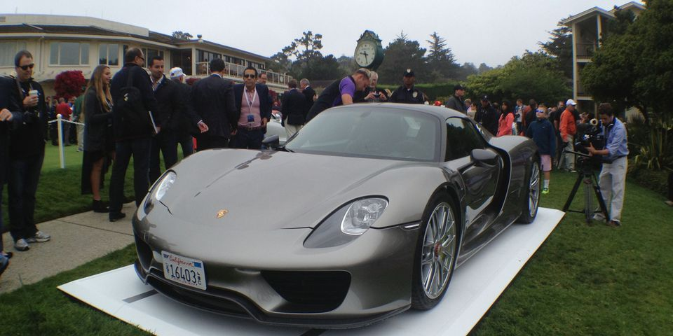 Porsche 918 prototype at Pebble Beach, Calif., 2013.