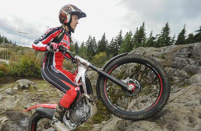 Trials motorcycle champion Christy Richards,