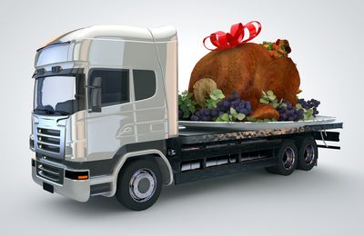 Massive Christmas Turkey on Delivery Truck