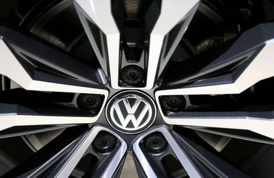 The wheel hub of a Volkswagen Tiguan R line automobile sits on display at the Volkswagen AG (VW) annual general meeting (AGM) in Hannover, Germany, on Wednesday, June 22, 2016. Matthias Mueller, chief executive officer of Volkswagen AG, sought to appease shareholder anger over the worst crisis in the carmakers history by shoring up internal controls to prevent a repeat of the diesel-emissions scandal.