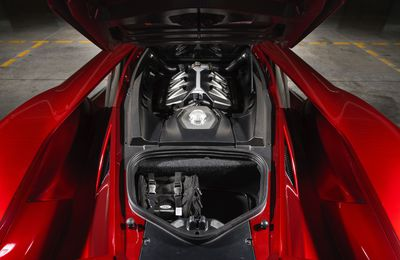 Red GT engine bay
