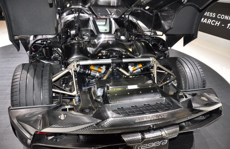 Engine bay of the Koenigsegg Regera is a masterful work of art.