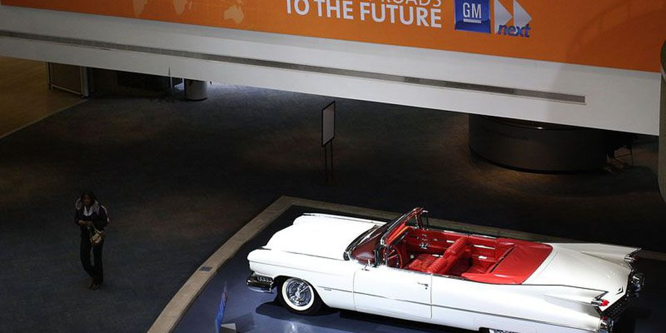 A 1959 Cadillac is displayed at the General Motors headquarters in Detroit, Michigan. The Big Three U.S. automakers, General Motors, Ford and Chrysler, are asking for federal funds to curb the decline of the American auto industry.