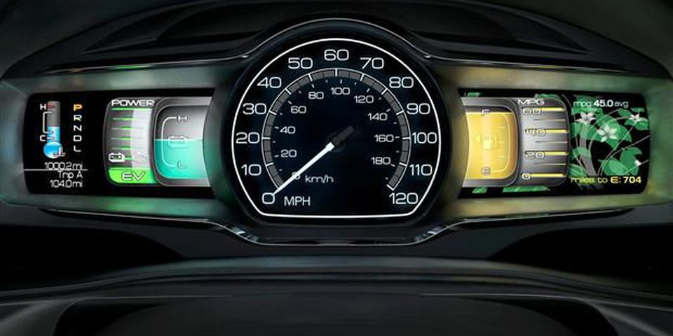 The instrument cluster in the Lincoln MKZ creates a visual reward in the form of leaves and flowering buds for the driver's efforts to operate the car in a fuel-efficient manner on a long-term, day-to-day basis.